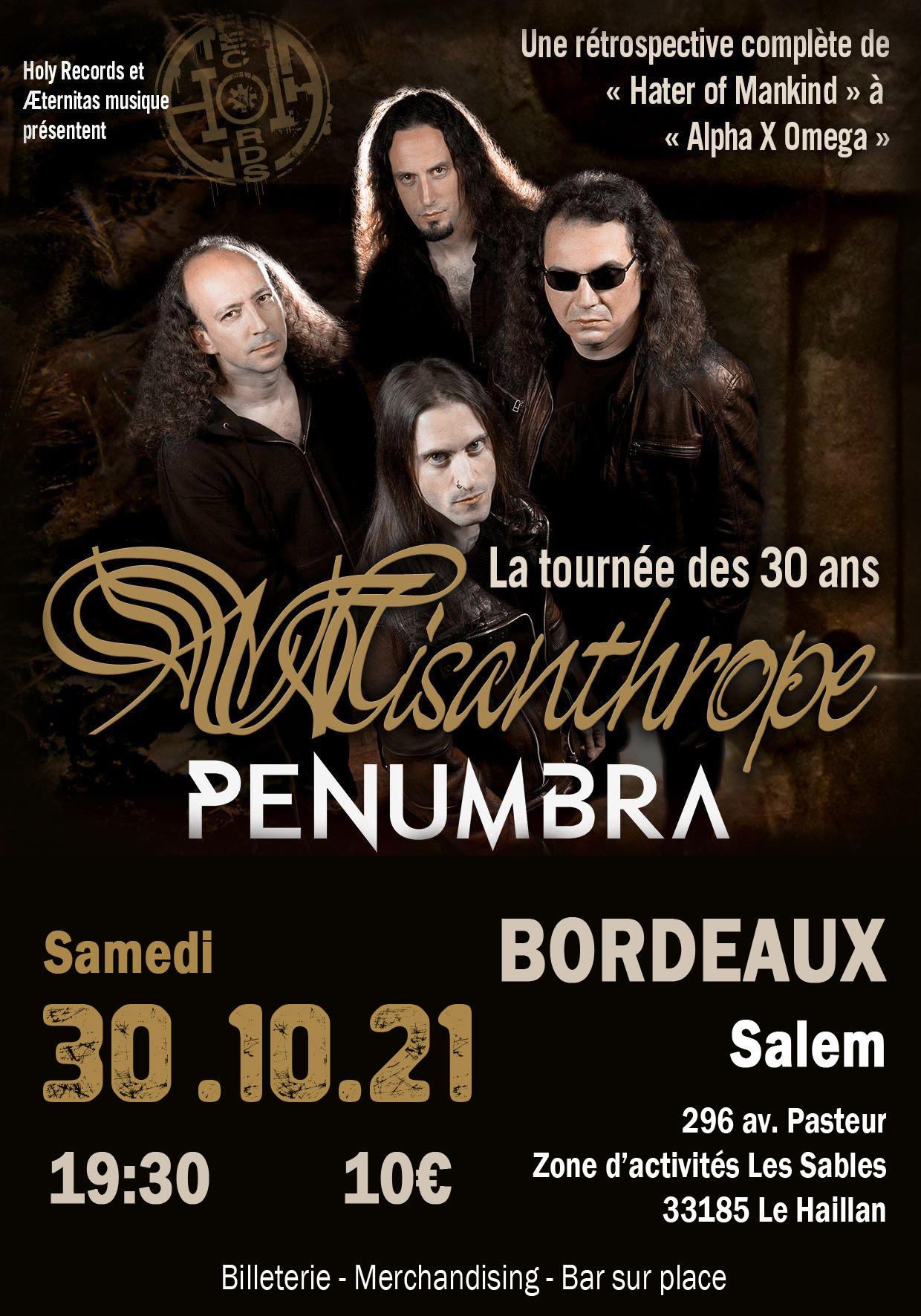 Affiche du concert de Misanthrope et Penumbra le 30 octobre 2021